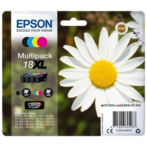 EPSON Cartouches 18 XL - Pack de 4 - Noir, Cyan, Magenta, Jaune