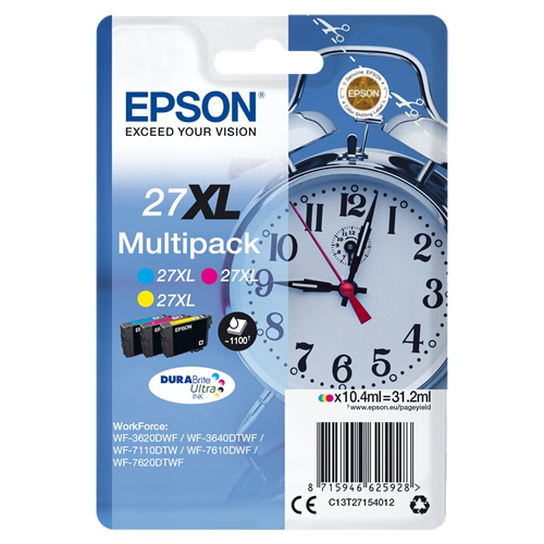 EPSON Cartouches 27 XL - Pack de 3 - Cyan, Magenta, Jaune