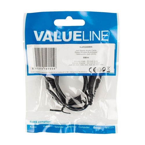 VALUELINE Câble audio Jack Stéréo 3,5 mm (M-M) 0.25m