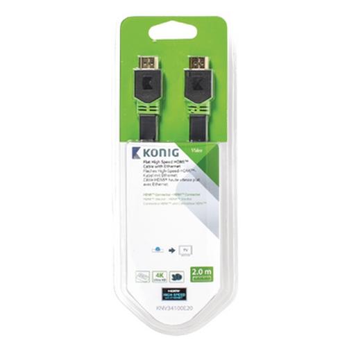 KONIG Câble HDMI avec Ethernet plat HDMI (M-M) 2.00m