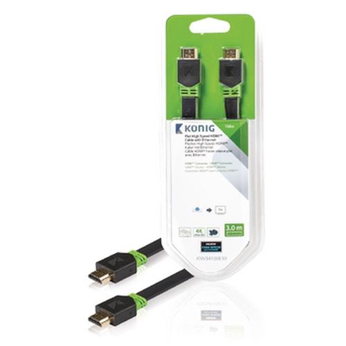 KONIG Câble HDMI avec Ethernet plat HDMI (M-M) 3.00m