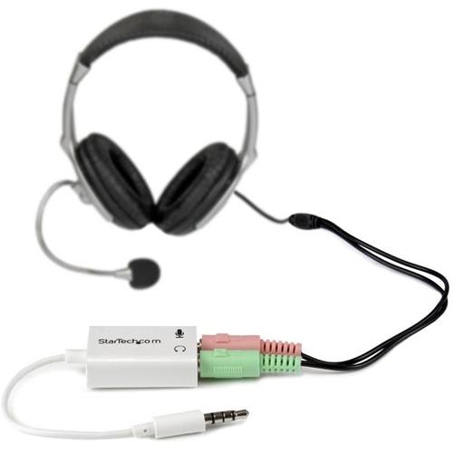 STARTECH Adaptateur pour prise casque (M) avec prise ecouteur/micro (F)