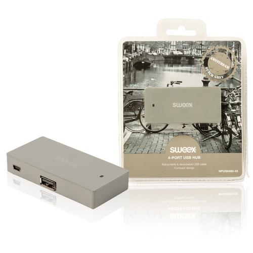 SWEEX - Hub 4 ports - USB 2.0 - Gris