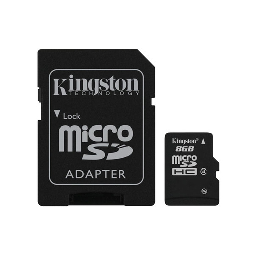 KINGSTON Carte microSDHC 8 Go - Class 4 - Avec adaptateur SD