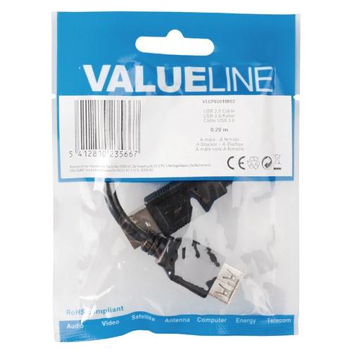 VALUELINE Câble Extension USB 2.0 A (M) - A (F) 0,20m