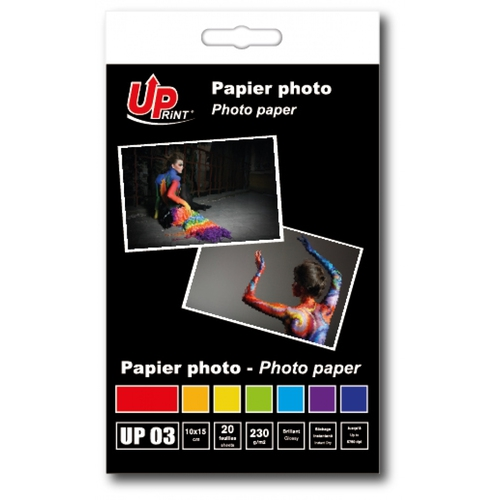 UPRINT Papier photo brillant 10x15 - 230Gr - 20 feuilles