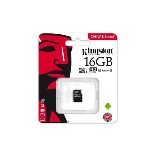 KINGSTON Carte microSDHC 16 Go -  Class 10 UHS-I U1 - Avec adaptateur SD