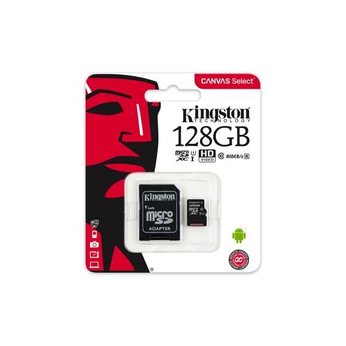 KINGSTON Carte mémoire microSDXC 128 Go - Class 10 UHS-1 - Avec adaptateur SD