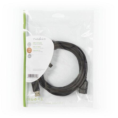 Nedis Câble Rallonge USB M-F 3.0m USB 2.0 Noir