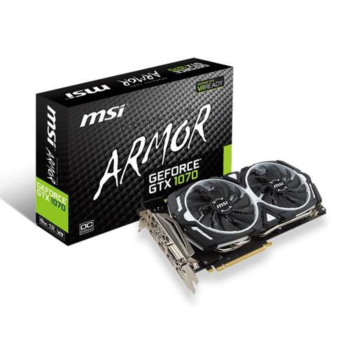 MSI Nvidia GeForce GTX1070 Armor 8G OC - 8Go - PCI-e 16X - HDMI DVI 3xDP