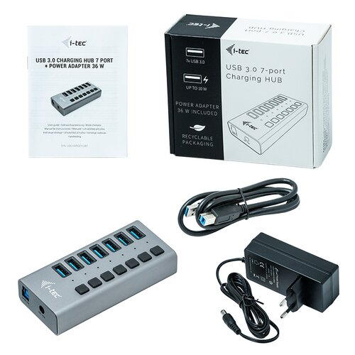 I-Tec Hub USB 3.0 7 ports avec alimentation et interrupteurs
