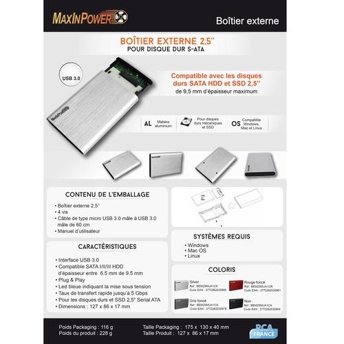 "MAXINPOWER Boîtier externe 2.5"" Sata - USB 3.0 - Aluminium"