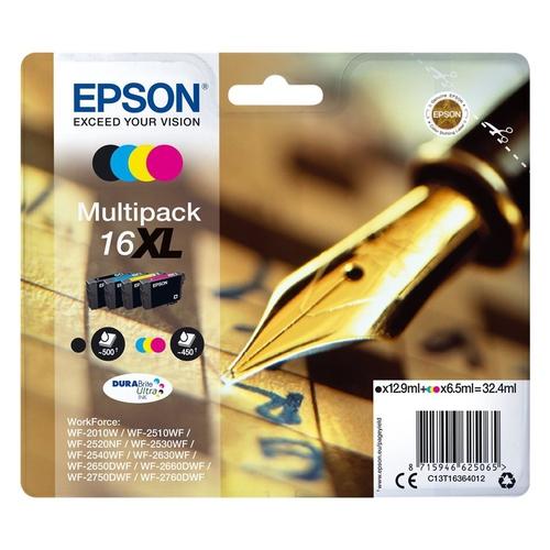 EPSON Cartouches 16 XL - Pack de 4 - Noir, Cyan, Magenta, Jaune